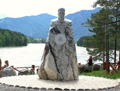 Marble monument to Nicholas Roerich in Altai, Siberia, Russia.