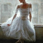 At the window. Moments of Ballet. Painting by Chinese born artist Stephen Pan