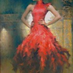 Scarlet dress. Painting by Chinese born artist Stephen Pan