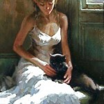 With a black cat. Painting by Chinese artist Stephen Pan