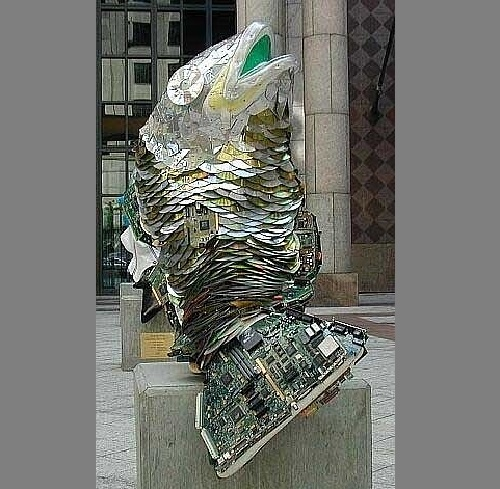 CD art&crafts. Monument to Fish, made of CDs and computer parts