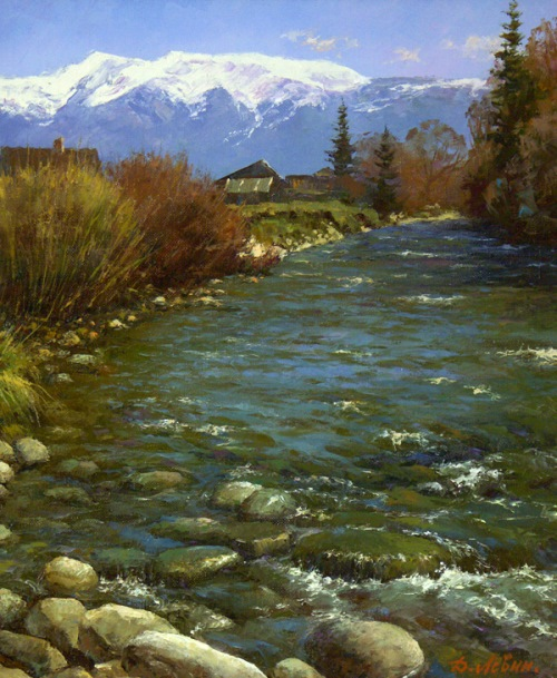 Landscape painter Dmitry Levin. Mountain river