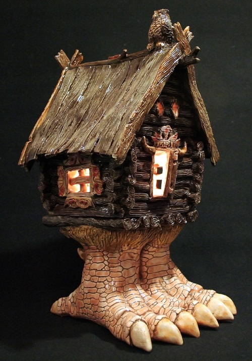 Night light 'House on chicken legs'. Ceramic art by Russian self-taught artist Vladimir Yudin