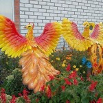 Peacocks in the garden. Art made of plastic bottles, by unknown artist somewhere in Russia