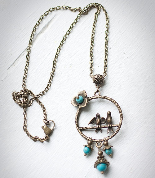 Turquoise and birds Pendant