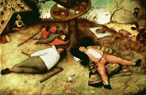 The Dutch have created Holland - Bruegel. The Land of Cockaigne. Oil on wood, 1567. Munich. Germany. Alte Pinakothek