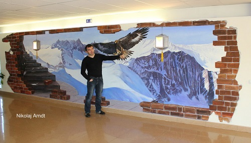 Realistic picturesque landscape of snowy mountains and an eagle flying over them. 3D interrior painting by Nikolaj Arndt