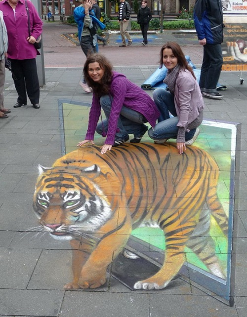 Riding a 3D painted tiger