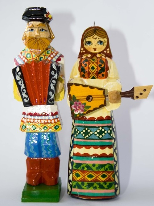 Russian folk wooden toys handmade, carved from linden, painted with paints and varnished. Master - Anna, Sergiev Posad
