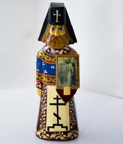 'Priest', handmade, carved from linden, painted with paints and varnished