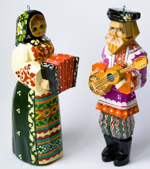Russian style Wooden figurines, handmade, carved from linden, painted with paints and varnished