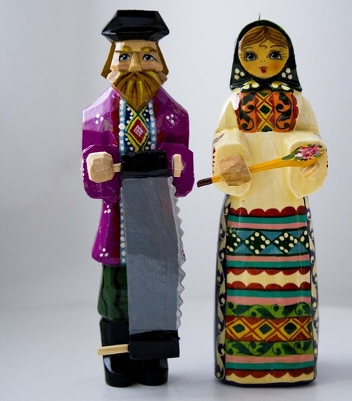 Folk wooden toys, handmade, carved from linden, painted with paints and varnished
