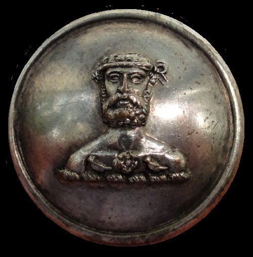 Silver-Plated Antique livery Button. Crest of Bearded Man with Rose and Martlets