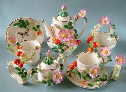 Exquisite Porcelain tea set. Handmade art by Svetlana Oreshkina