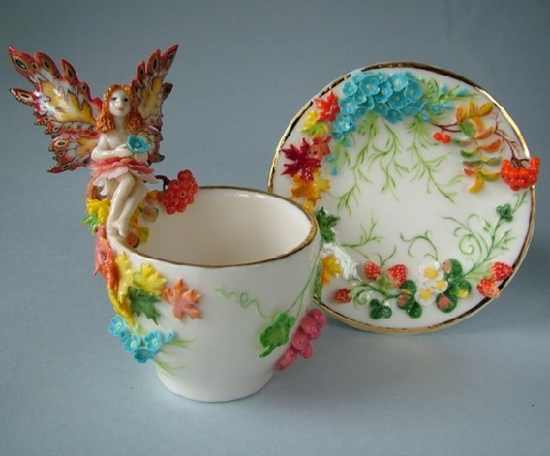 Beautiful tea set. Porcelain miniature by Svetlana Oreshkina