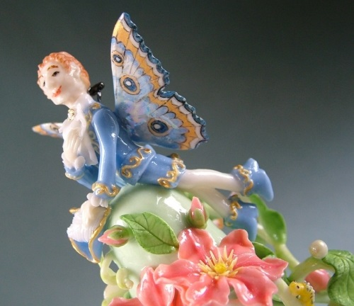 Fairy with butterfly wings. Porcelain miniature by Svetlana Oreshkina