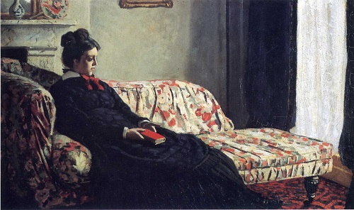 Why Claude Monet destroyed his paintings. Thinking Madame Monet on the sofa 1871