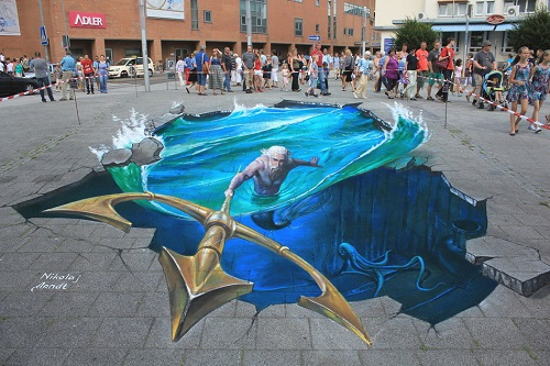 Three-dimensional picture painted on the asphalt - Neptune