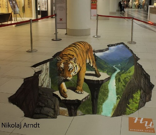 Tiger -Three-dimensional painting on the floor of the shopping mall