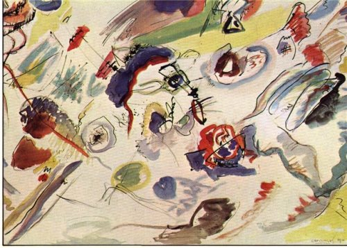 Russian painter Wassily Kandinsky. UNTITLED. First abstract watercolor (1910) National Museum of Modern Art, Centre Georges Pompidou, Paris