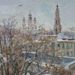 Wet snow. Oil on canvas. Painting by Kaluga based artist Viktoria Kharchenko