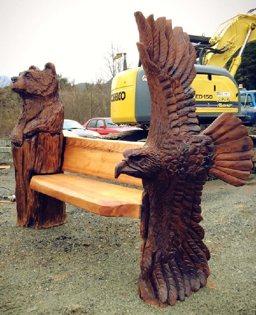 bear and eagle bench