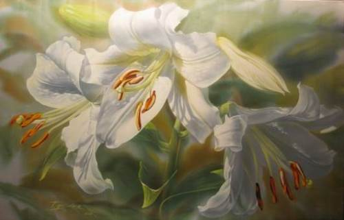 A white lily. Elena Tener painting on silk