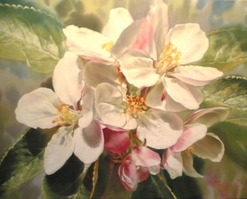Apple flowering. Elena Tener painting on silk