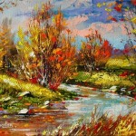 River side. Autumn colors in painting by Alexander Khodyukov