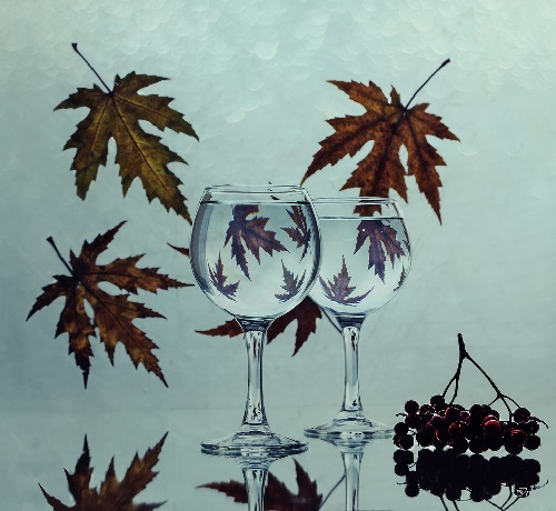Autumn in wine glasses