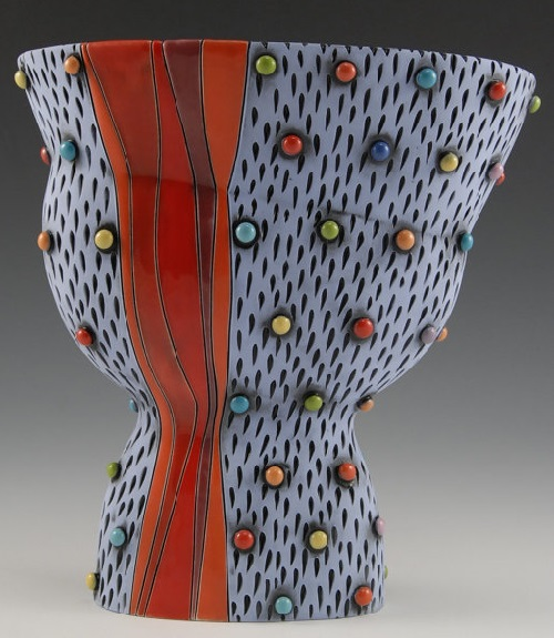 Beautiful Blue Vase with Multicolored Polka Dots. Hand made painted with glaze and under-glaze