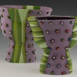 Purple hand made vase with Green Polka Dots