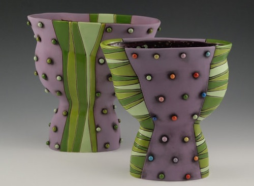 Beautiful Purple hand made vase with Green Polka Dots. Artwork by ceramic artist Natalya Sots