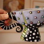 polka dot ceramic cups hand made cup, carved and painte