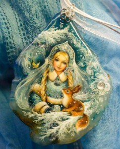 Big Pendant 'Russian winter'. Lacquer miniature painting on natural stone