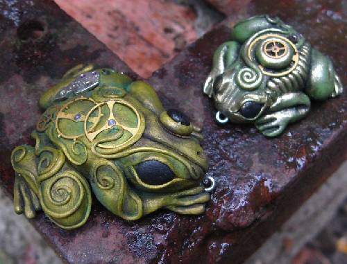 Bio-mechanics, steampunk Frogs. Material - polymer clay, pastels, metallic powders, parts of watch mechanisms, lacquer