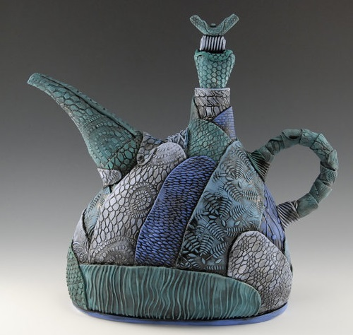 Blue-Turquoise Hand build patchwork teapot. Each piece has its own texture and design. Fully functional, painted with food safe glaze and underglaze. Artwork by ceramic artist Natalya Sots