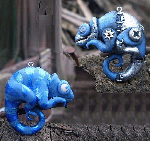 Chameleon. One side is bio-mechanical, the other - the polymer
