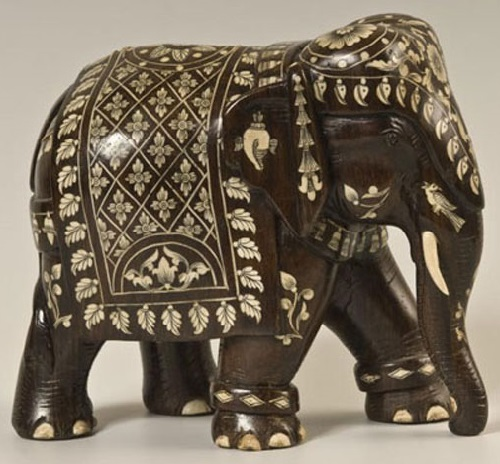 Elephant. Legend of Bidri art. Traditional metal handicraft from Bidar, India