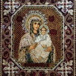 Mary and child icon Icon Embroidered with precious stones