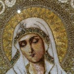 The blessed mother Mary, detail of Icon Embroidery