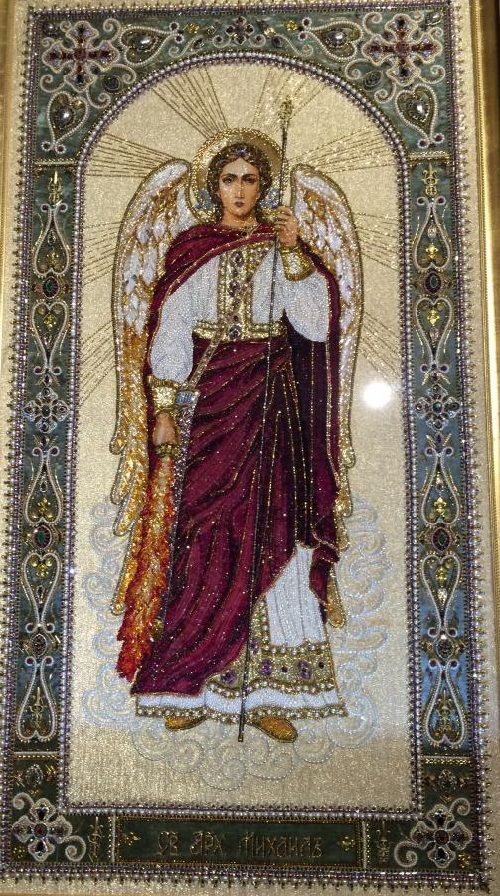 Icon Embroidered with precious stones. Art workshop by Natalia Gorkovenko 'Prikosnovenie' (touch). Moscow, Russia