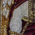 Michael archangel Icon Embroidered with precious stones, closeup