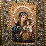 Mother and child Icon Embroidery art by Natalia Gorkovenko