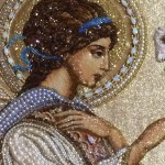 Hand embroidered icon, detail Angel