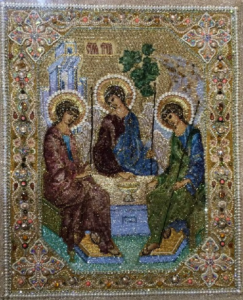 Icon of the Most Holy Trinity. Embroidery Art by Natalia Gorkovenko. Moscow, Russia