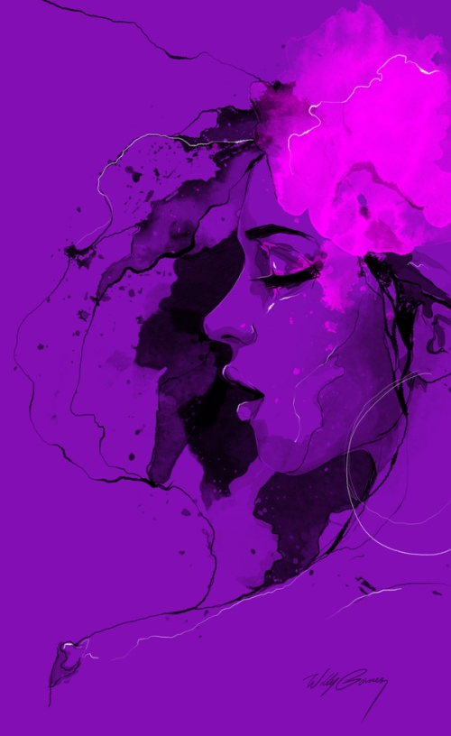 Purple background. From a series of female portraits. Beautiful watercolor illustration by Willy Gomez