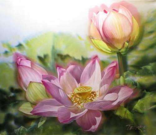 Lotuses. Elena Tener painting on silk