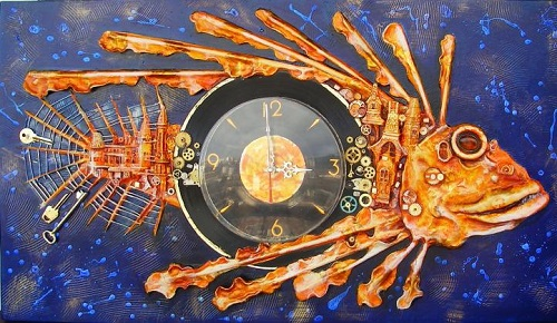 Metamorphosis. Clocks running with silent mechanism. The work itself - the image of the city, seen by the artist from a height