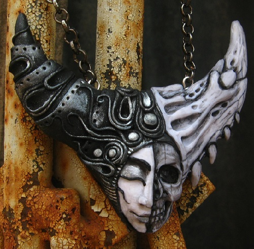 Mystical, full of dualism pendant 'Faces of life'. Material - polymer clay, pastels, metallic powder lacquer